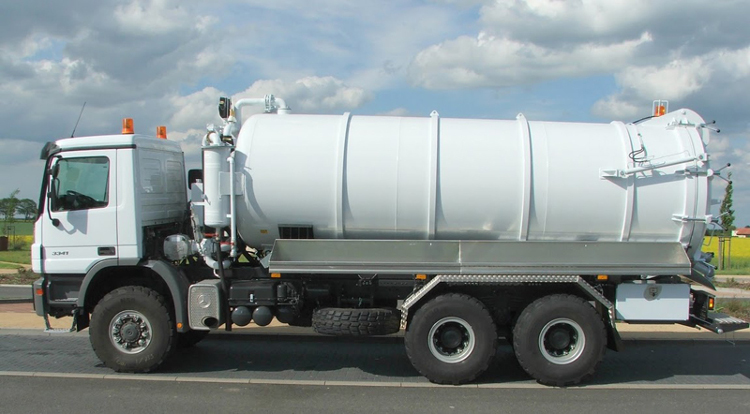 Reinforced truck chassis. Volume of the vacuum tank body: 20000 ltr.